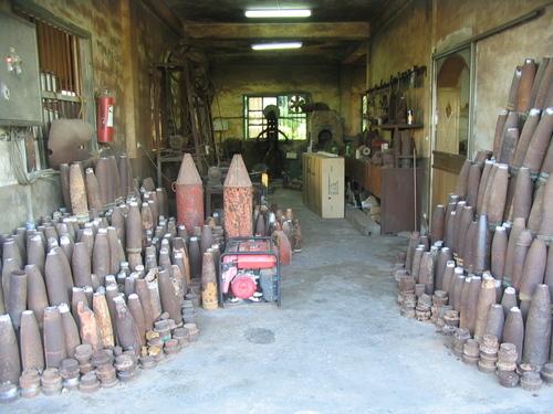 Artillery Shells awaiting new lives as kitchen knives.